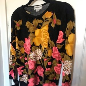 Cathy Daniels neon pink and yellow floral sweater